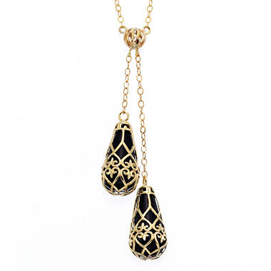 Black Onyx Fleur De Lis Necklace in 14k Yellow Gold