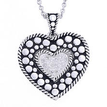 Sterling Silver with 0.16 ct. t.w. Diamonds & Black Finish Heart Design Pendant (H-I, I1)