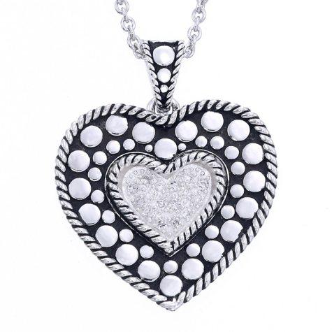Sterling Silver with 0.16 ct. t.w. Diamonds & Black Finish Heart Design Pendant (H-I, I1)