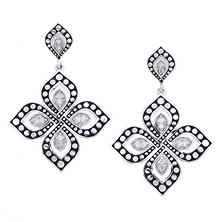 Fancy Design Sterling Silver and 0.10 ct. t.w. Diamond Earrings (H-I, I1)