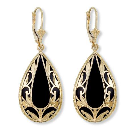 Black Onyx and Gold Diamond Cut Leaf Earrings in 14K Yellow Gold