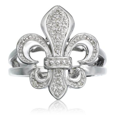 0.10 CT. T.W. Diamond Fleur De Lis Ring in Sterling Silver (H-I, I1)