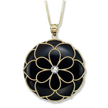 Black onyx medallion pendant in 14k two tone gold sams club black onyx medallion pendant in 14k two tone gold aloadofball Images