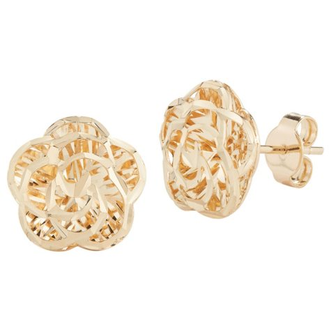 14k Yellow Gold Flower Stud Earrings