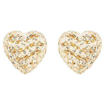 14k Yellow Gold Diamond Cut Heart Earrings
