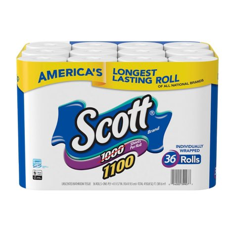Scott 1100 Unscented Bath Tissue Bonus Pack, 1-ply (36 Rolls = 1100 Sheets Per Roll)- Individually Wrapped Toilet Paper