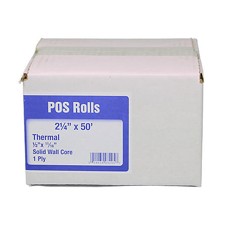 "Alliance Thermal Paper Receipt Rolls, 2 1/4"" x 50', White, 50 Rolls"