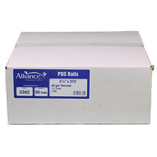 "Alliance Thermal Paper Receipt Rolls, 3 1/8"" x 273"", 50 Rolls"