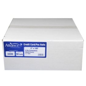 """Alliance 2-Ply Carbonless Receipt Rolls, 3""""x100', White/Canary, 50 Rolls"""