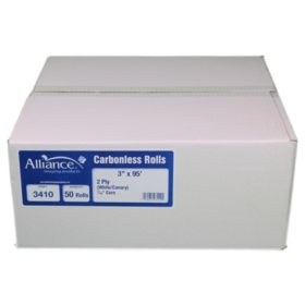 """Alliance 2-Ply Carbonless Receipt Rolls, 3""""x95', White/Canary, 50 Rolls"""