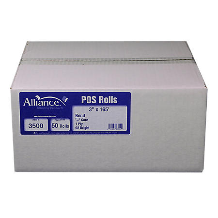"Alliance Bond Paper Receipt Rolls, 3""x165', 50 Rolls"