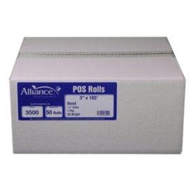 "Alliance Bond Paper Receipt Rolls, 3""x165', 50 Rolls"