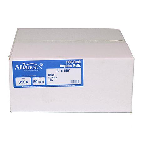 "Alliance Bond Paper Receipt Rolls, 3""x150', 50 Rolls"