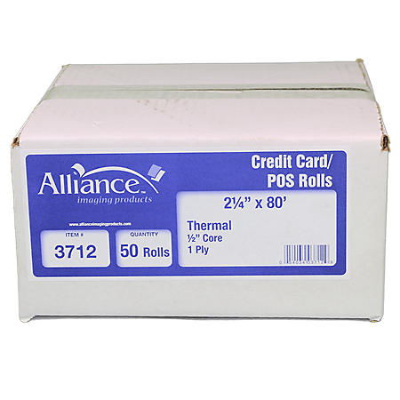 "Alliance Thermal Paper Receipt Rolls, 2 1/4"" x 80', White, 50 Rolls"