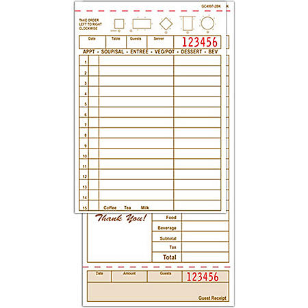 "Alliance 2-Part Carbonless Guest Checks, 4.25"" x 8.5"", 15-lines, Tan, 250 Checks, 8 Books"