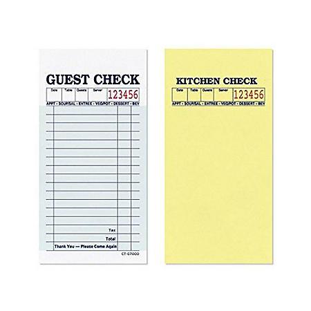 "Alliance 2-Part Guest Checks, 3.4"" x 6.73"", 17-lines, Green, 50 Checks, 50 Books"