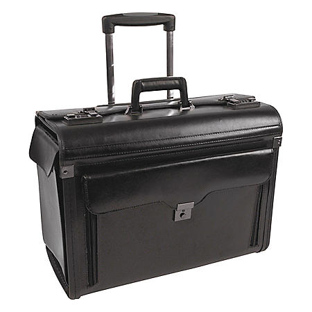 bugatti Bond Street Collection Catalog Case on Wheels, Leather, Black