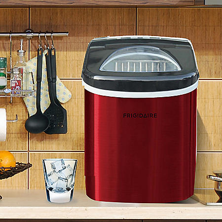 Frigidaire Red Stainless Steel 26lb Ice Maker