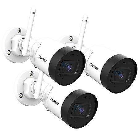 Defender Guard 4 Megapixel (2K) Resolution IP Cameras with Audio Recording and No Monthly Fees (3 Pack)
