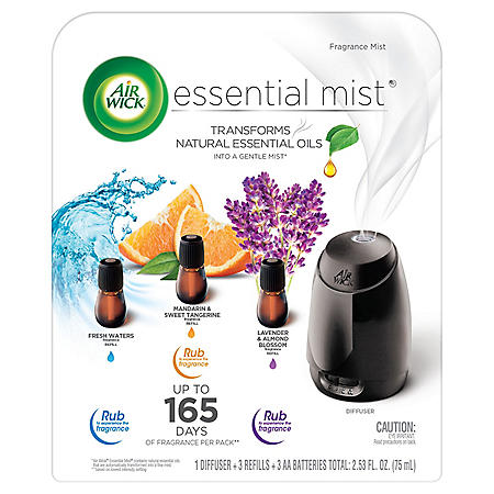 Air Wick Essential Mist Fragrance Oil Diffuser Kit Mist 1+3 (Fresh Waters, Mandarin & Sweet Tangerine, Lavender & Almond Blossom), Air Freshener