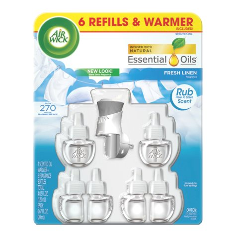 Air Wick Oils, 1 warmer, 6 refills (various scents)
