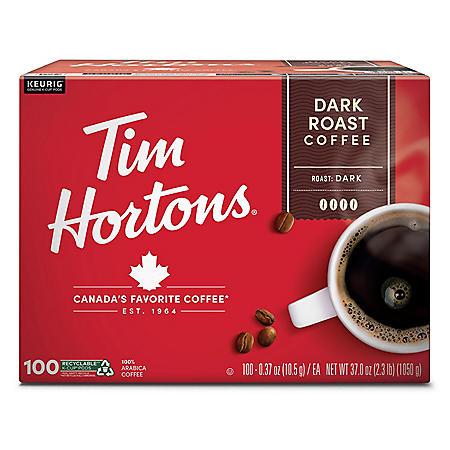 Tim Hortons Premium Dark Coffee, Dark Roast (100 ct.)
