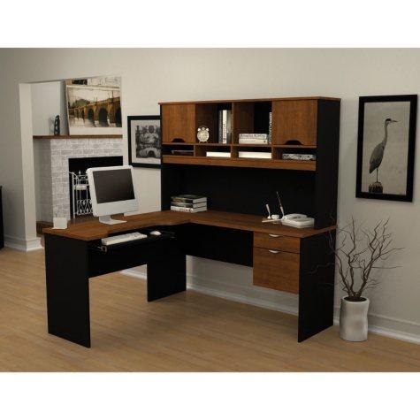 Bestar Innova HomePro 92000 L-Shaped Desk, Tuscany Brown/Black