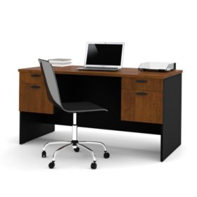 Bestar Hampton HomePro 69000 Executive Desk, Tuscany Brown/Black