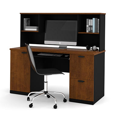 Bestar Hampton HomePro 69000 Desk with Hutch, Tuscany Brown/Black