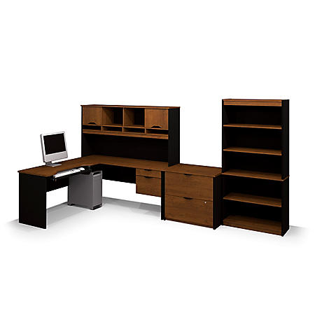 Bestar Innova HomePro 92000 L-Shaped Desk with Lateral File and Bookcase (Various Colors)