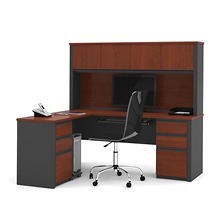 Bestar Prestige + OfficePro 99000 6-Drawer L-Shaped Desk with Hutch, Bordeaux/Graphite
