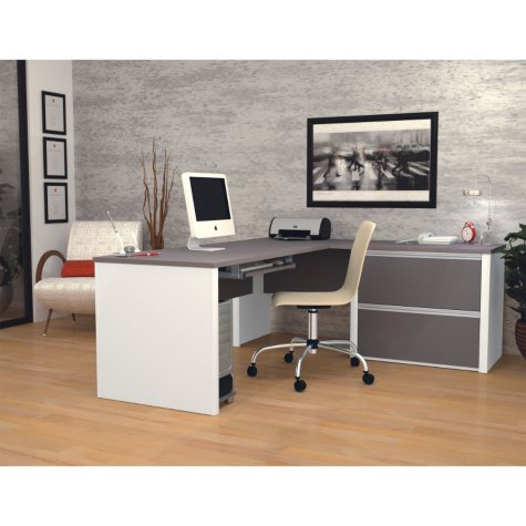 Bestar Connexion OfficePro 93000 2-Drawer L-Shaped Desk, Select Color