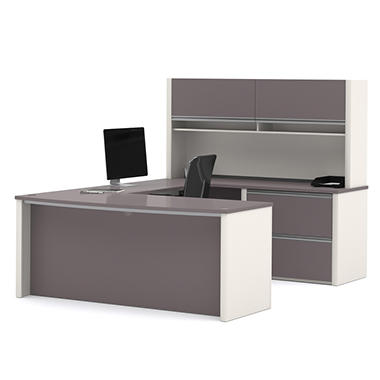 Bestar Connexion OfficePro 93000 2-drawer U-Shaped Desk with Hutch, Slate/Sandstone