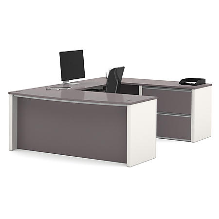 Bestar Connexion OfficePro 93000 2-Drawer U-Shaped Bow-Front Desk, Select Color