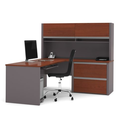 Bestar Connexion OfficePro 93000 2-Drawer L-Shaped Desk with Hutch, Select Color