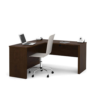 Bestar Prestige + OfficePro 99000 L-shaped Desk, Chocolate