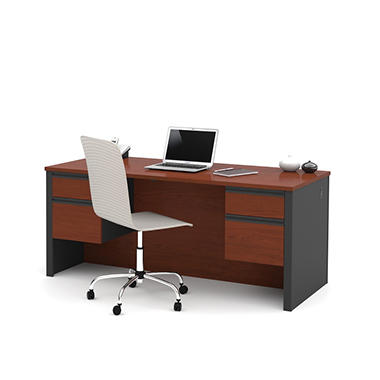 Bestar Prestige Officepro 99000 Executive Desk Bordeaux Graphite