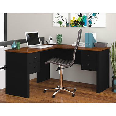 Bestar Somerville HomePro 45000 L-Shaped Desk, Black/Tuscany Brown