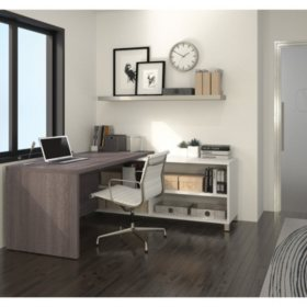 Bestar Pro-Linea OfficePro 120000 L-Shaped Desk, White/Bark Gray