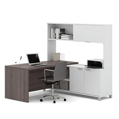 Bestar Pro-Linea OfficePro 120000 L-Shaped Desk with Hutch and Doors, White/Bark Gray