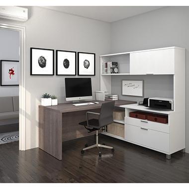Bestar Pro Linea Officepro 120000 L Shaped Desk With Hutch