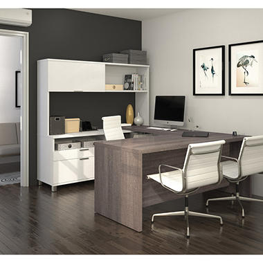 Bestar Pro Linea Officepro 120000 U Shaped Desk With Hutch And Drawers White