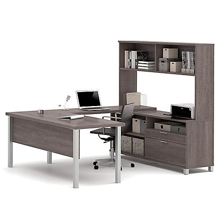 Bestar Pro-Linea OfficePro 120000 U-Shaped Desk with Hutch, Select Color