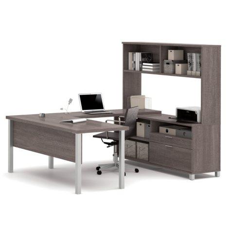 Bestar Pro-Linea OfficePro 120000 U-Shaped Desk with Hutch, Select Color
