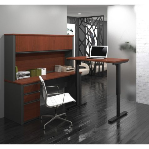 Bestar Prestige + OfficePro 99000 L-Shaped Desk with Hutch and Electric Height Adjustable Table, Select Color