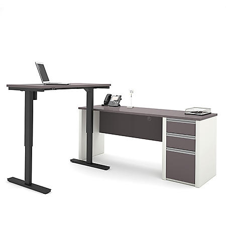 Bestar Connexion OfficePro 93000 L-Shaped Desk and Electric Height Adjustable Table, Select Color