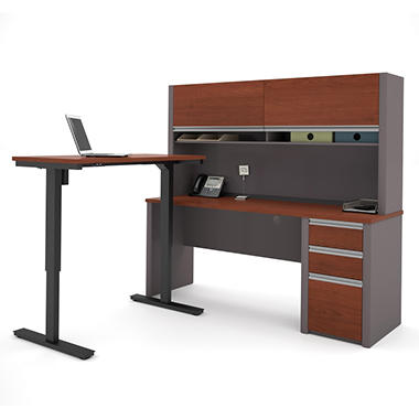 Bestar Connexion Officepro 93000 L Shaped Desk With Hutch