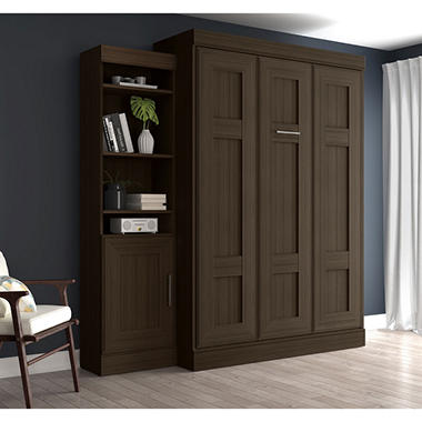 Edge by Bestar Wall Bed with One Storage Unit, Dark Chocolate