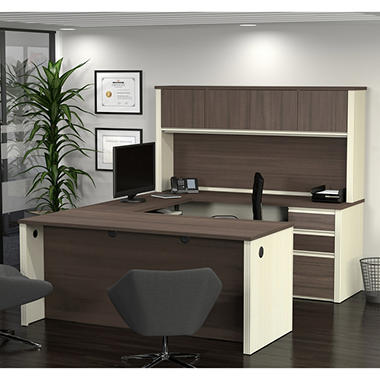 Bestar Prestige + OfficePro 99000 6-Drawer U-Shaped Desk with Hutch, White Chocolate/Antigua