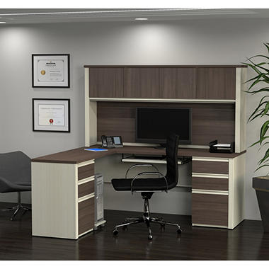 Bestar Prestige Officepro 99000 6 Drawer L Shaped Desk With Hutch Various